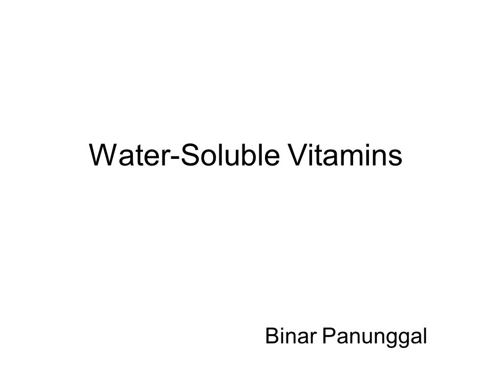 Water-Soluble Vitamins Binar Panunggal