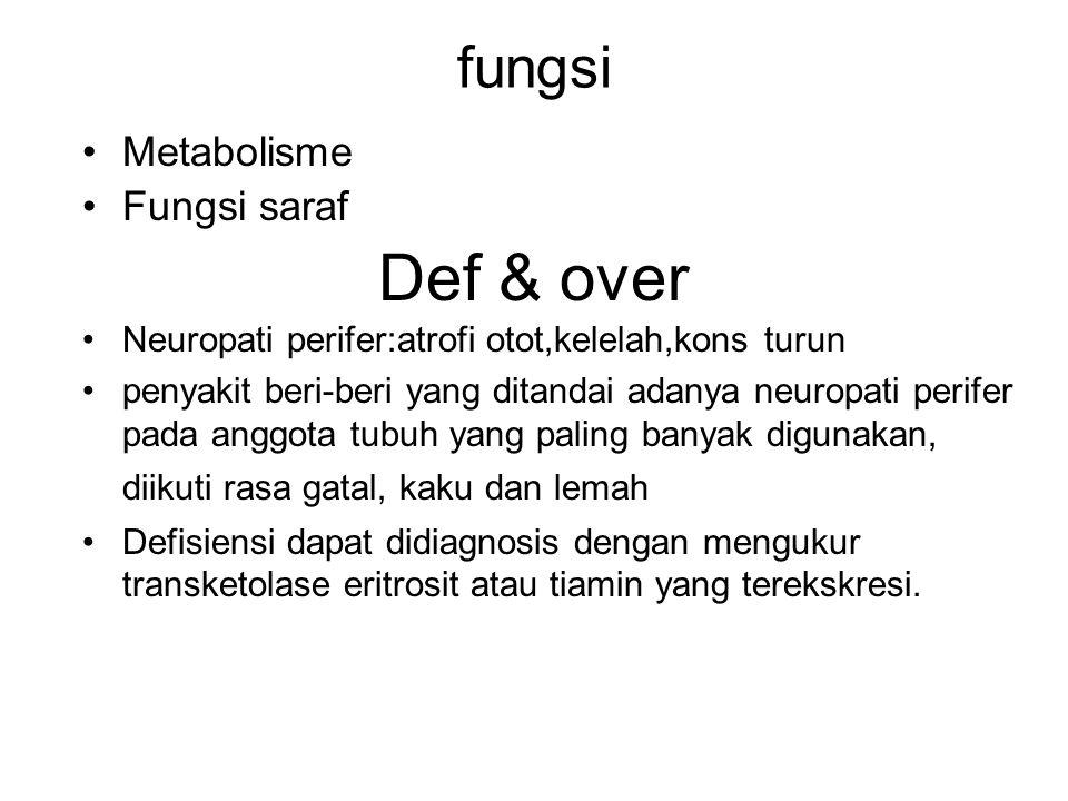 fungsi Metabolisme Fungsi saraf Def & over Neuropati perifer:atrofi otot,kelelah,kons turun penyakit beri-beri yang ditandai adanya neuropati perifer