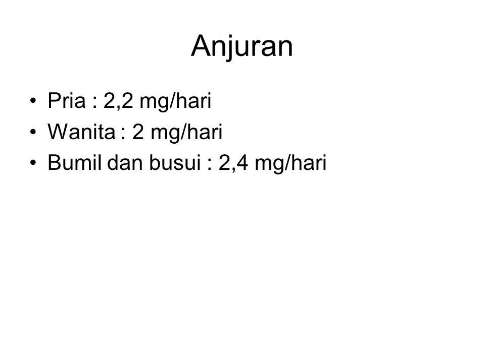 Anjuran Pria : 2,2 mg/hari Wanita : 2 mg/hari Bumil dan busui : 2,4 mg/hari