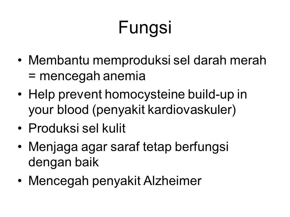 Fungsi Membantu memproduksi sel darah merah = mencegah anemia Help prevent homocysteine build-up in your blood (penyakit kardiovaskuler) Produksi sel