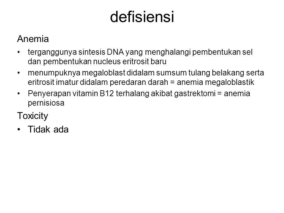 defisiensi Anemia terganggunya sintesis DNA yang menghalangi pembentukan sel dan pembentukan nucleus eritrosit baru menumpuknya megaloblast didalam su