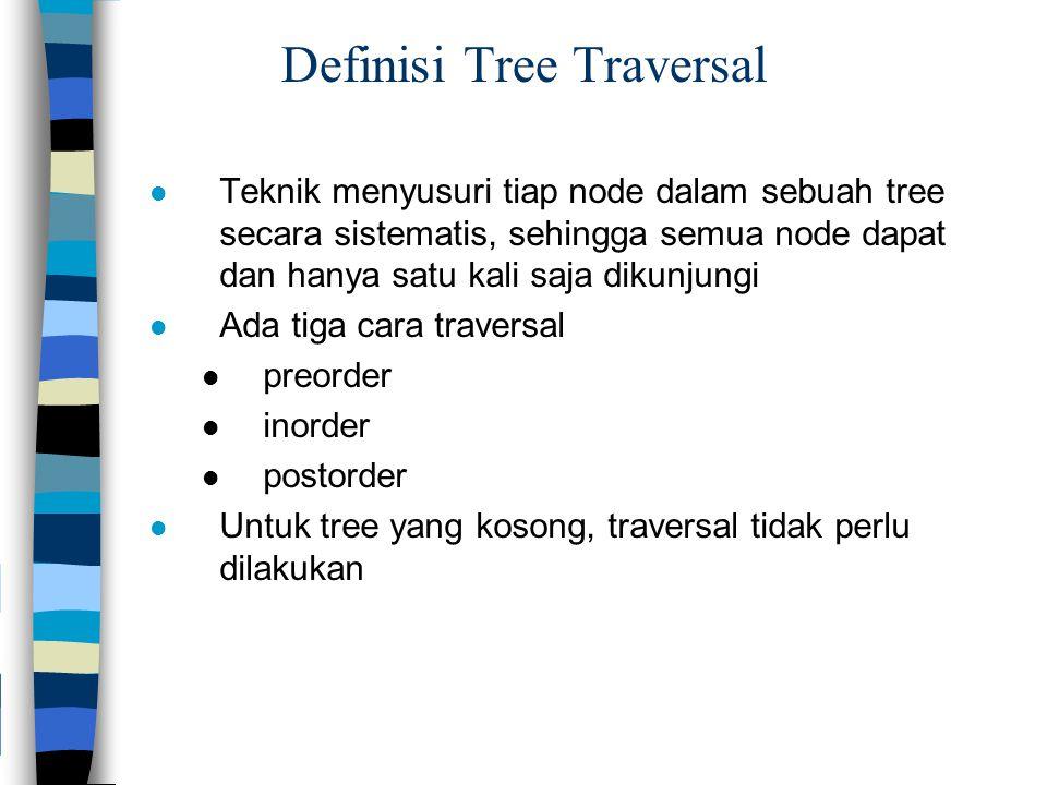 Definisi Tree Traversal Teknik menyusuri tiap node dalam sebuah tree secara sistematis, sehingga semua node dapat dan hanya satu kali saja dikunjungi