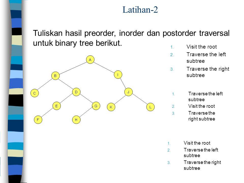 Latihan-2 Tuliskan hasil preorder, inorder dan postorder traversal untuk binary tree berikut. 1. Visit the root 2. Traverse the left subtree 3. Traver