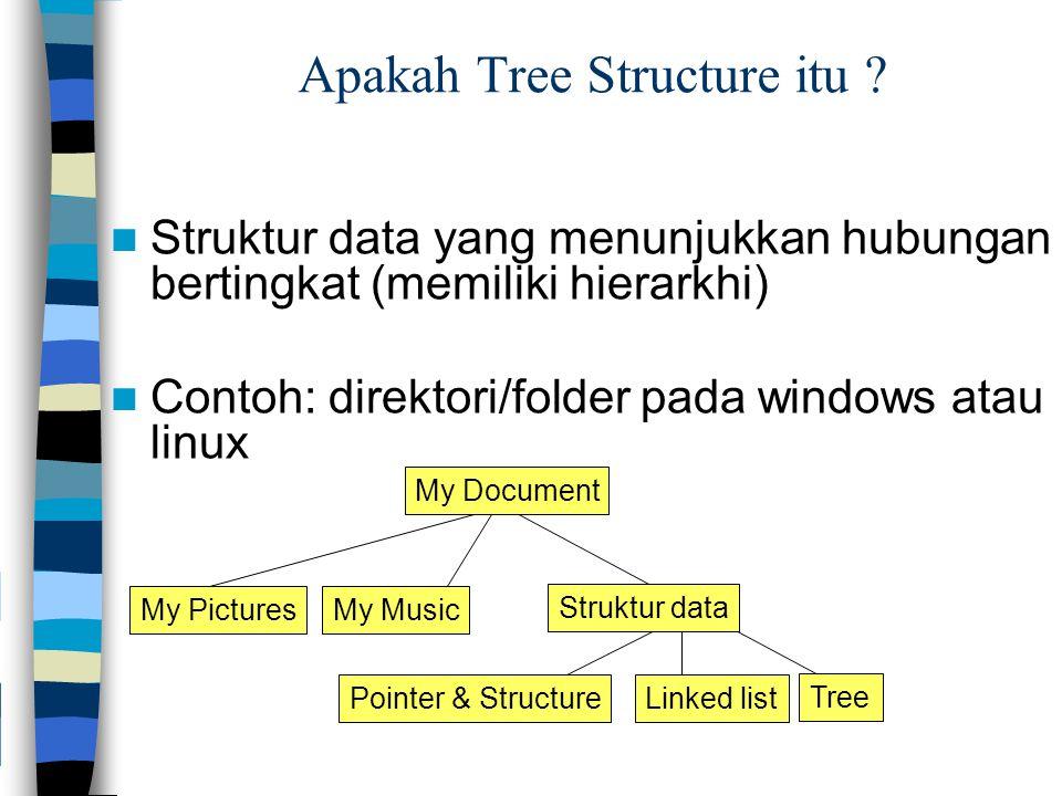 Apakah Tree Structure itu ? Struktur data yang menunjukkan hubungan bertingkat (memiliki hierarkhi) Contoh: direktori/folder pada windows atau linux M