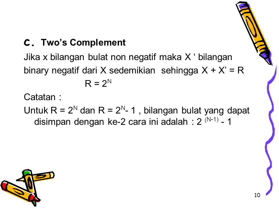 10 c. Two's Complement Jika x bilangan bulat non negatif maka X ' bilangan binary negatif dari X sedemikian sehingga X + X' = R R = 2 N Catatan : Untu