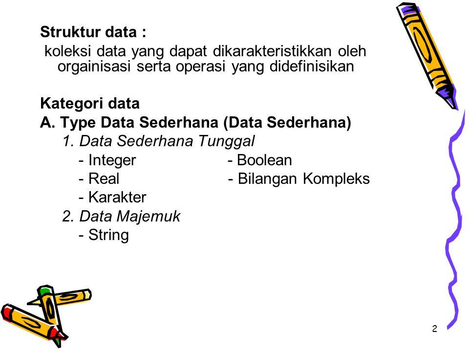 2 Struktur data : koleksi data yang dapat dikarakteristikkan oleh orgainisasi serta operasi yang didefinisikan Kategori data A. Type Data Sederhana (D