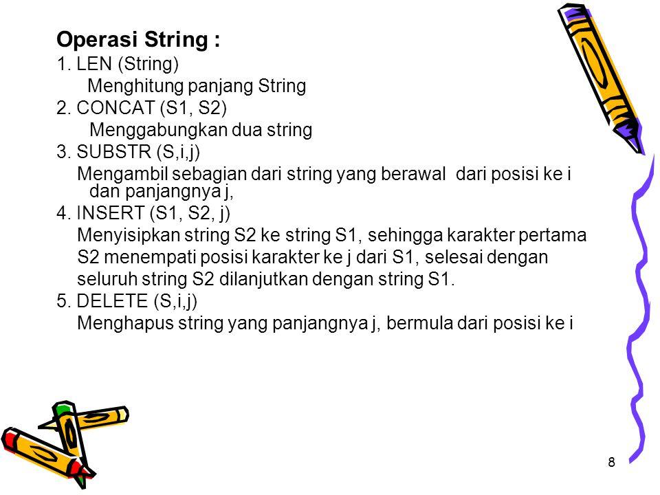 8 Operasi String : 1. LEN (String) Menghitung panjang String 2. CONCAT (S1, S2) Menggabungkan dua string 3. SUBSTR (S,i,j) Mengambil sebagian dari str
