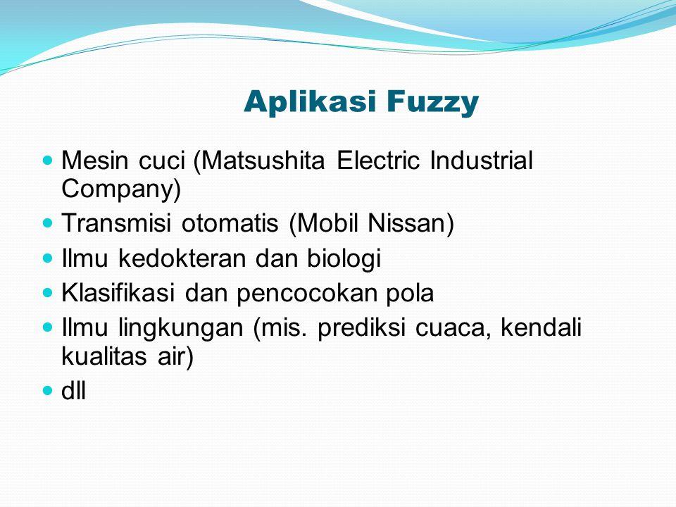 Aplikasi Fuzzy Mesin cuci (Matsushita Electric Industrial Company) Transmisi otomatis (Mobil Nissan) Ilmu kedokteran dan biologi Klasifikasi dan pencocokan pola Ilmu lingkungan (mis.