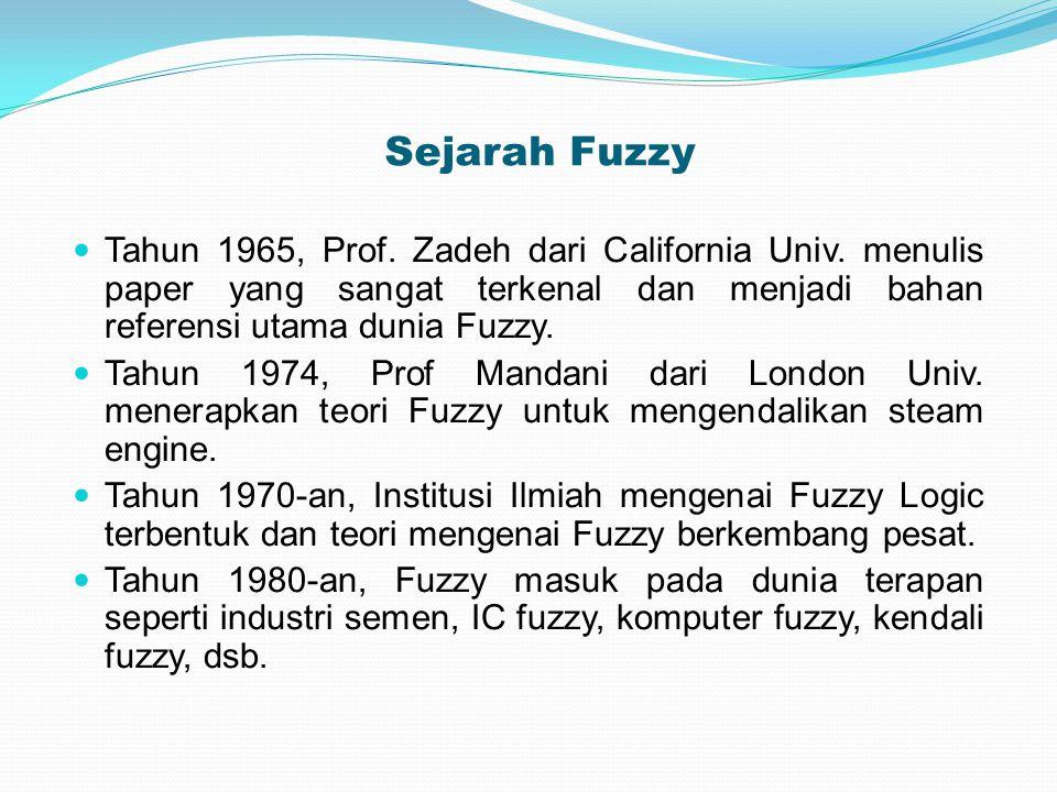 Sejarah Fuzzy Tahun 1965, Prof. Zadeh dari California Univ. menulis paper yang sangat terkenal dan menjadi bahan referensi utama dunia Fuzzy. Tahun 19