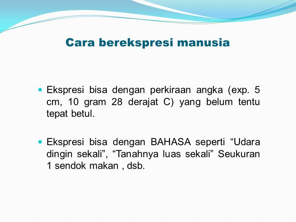 Cara berekspresi manusia Ekspresi bisa dengan perkiraan angka (exp. 5 cm, 10 gram 28 derajat C) yang belum tentu tepat betul. Ekspresi bisa dengan BAH