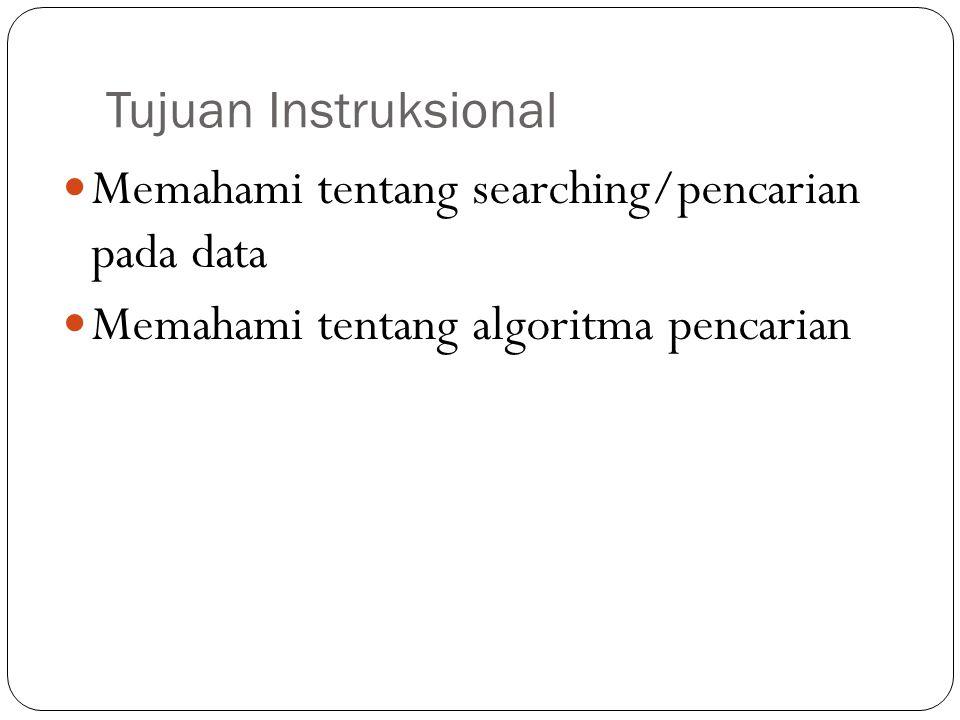 Tujuan Instruksional Memahami tentang searching/pencarian pada data Memahami tentang algoritma pencarian