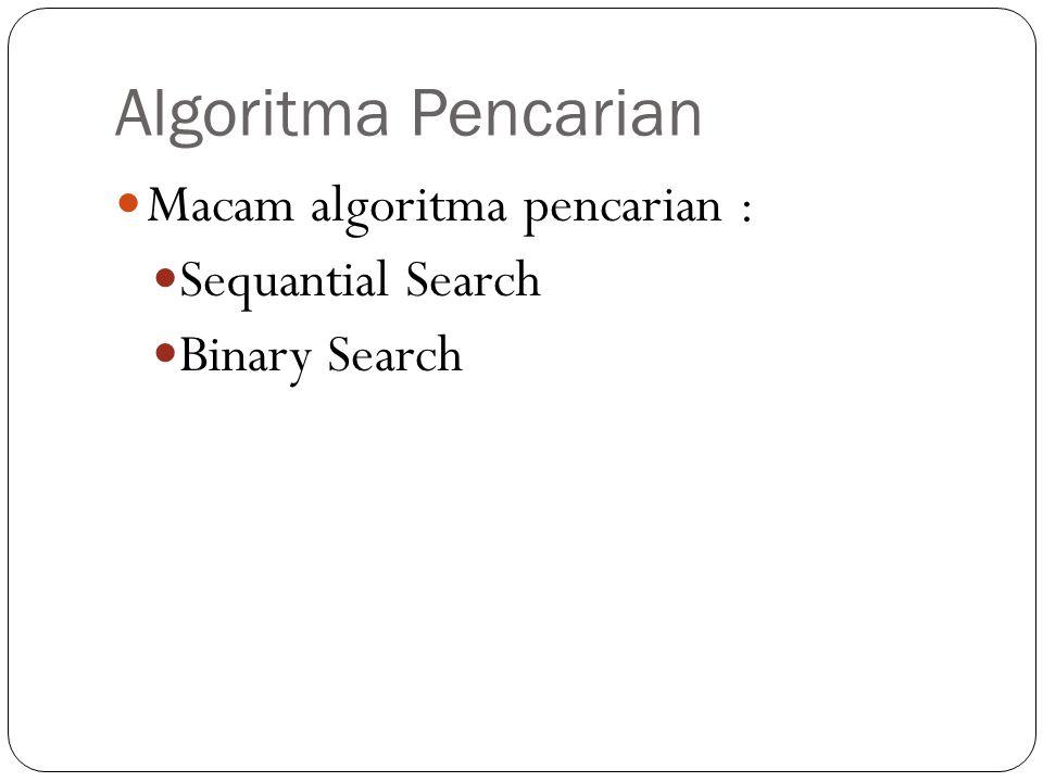 Algoritma Pencarian Macam algoritma pencarian : Sequantial Search Binary Search