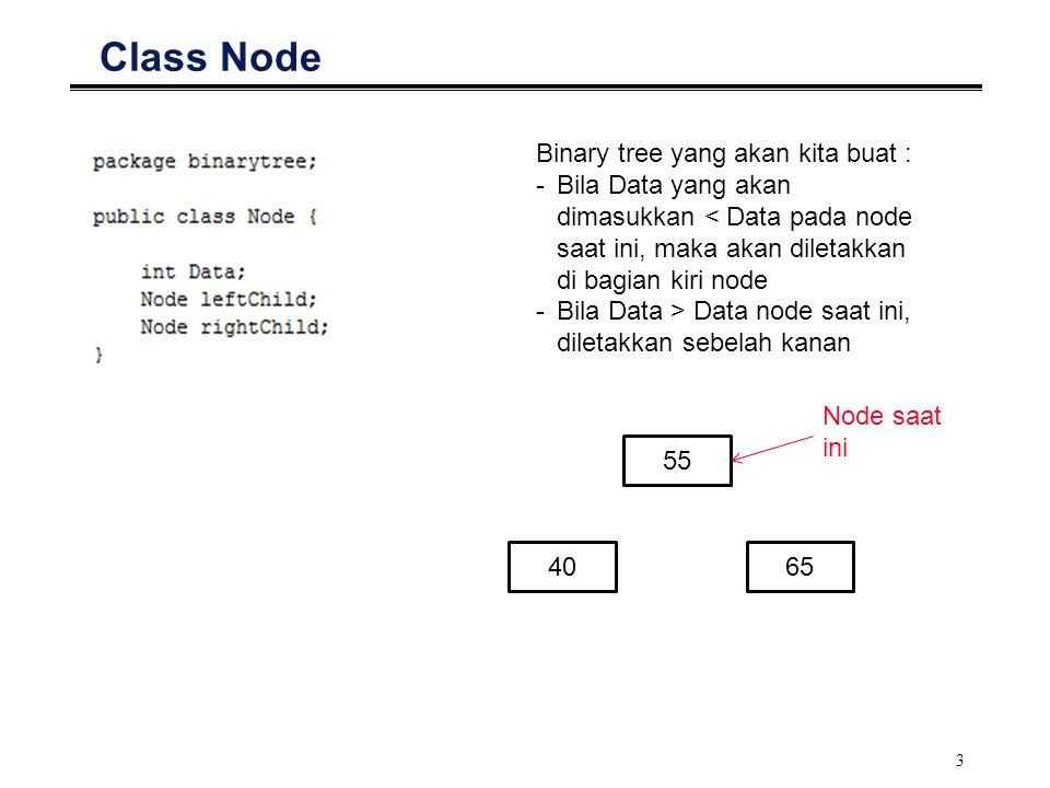 3 Class Node Binary tree yang akan kita buat : -Bila Data yang akan dimasukkan < Data pada node saat ini, maka akan diletakkan di bagian kiri node -Bi