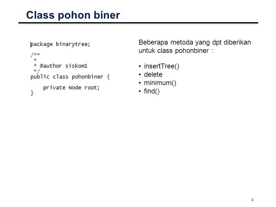 4 Class pohon biner Beberapa metoda yang dpt diberikan untuk class pohonbiner : insertTree() delete minimum() find()