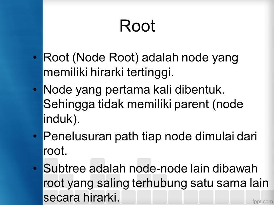 Root Root (Node Root) adalah node yang memiliki hirarki tertinggi. Node yang pertama kali dibentuk. Sehingga tidak memiliki parent (node induk). Penel