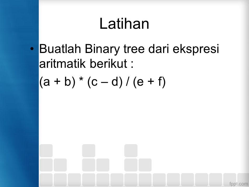 Latihan Buatlah Binary tree dari ekspresi aritmatik berikut : (a + b) * (c – d) / (e + f)