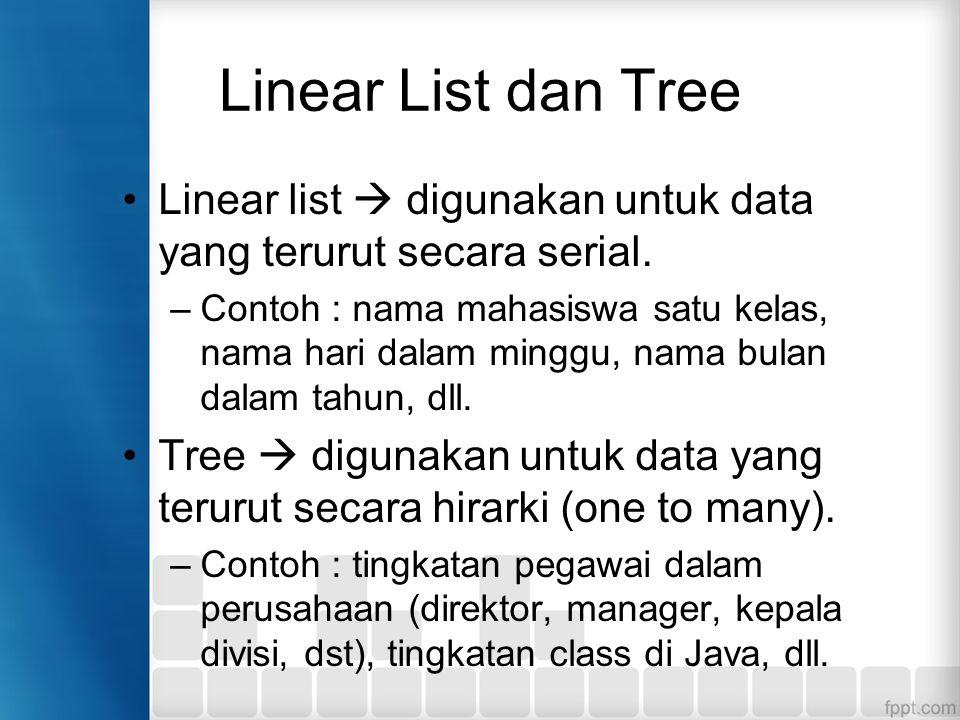 Linear List dan Tree Linear list  digunakan untuk data yang terurut secara serial. –Contoh : nama mahasiswa satu kelas, nama hari dalam minggu, nama