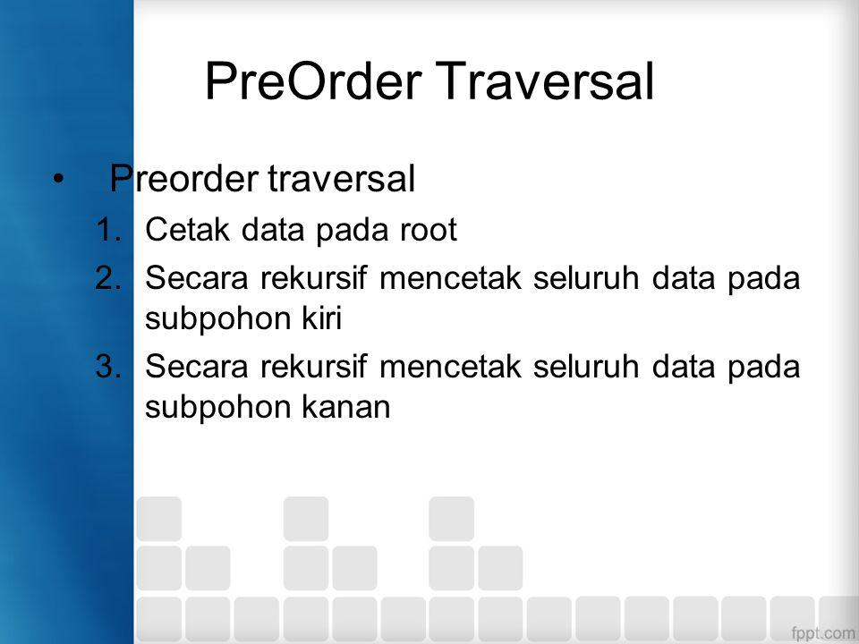 PreOrder Traversal Preorder traversal 1.Cetak data pada root 2.Secara rekursif mencetak seluruh data pada subpohon kiri 3.Secara rekursif mencetak seluruh data pada subpohon kanan
