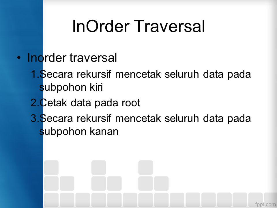 InOrder Traversal Inorder traversal 1.Secara rekursif mencetak seluruh data pada subpohon kiri 2.Cetak data pada root 3.Secara rekursif mencetak seluruh data pada subpohon kanan