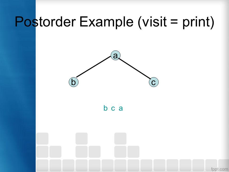 Postorder Example (visit = print) a bc bca