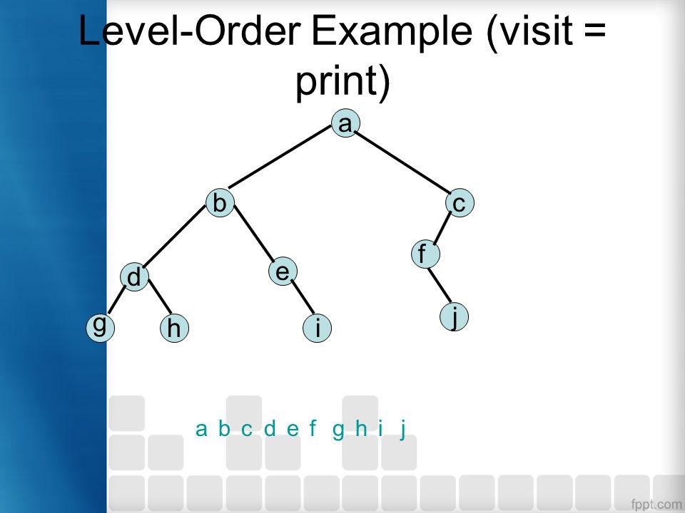 Level-Order Example (visit = print) a bc d e f g hi j abcdefghij