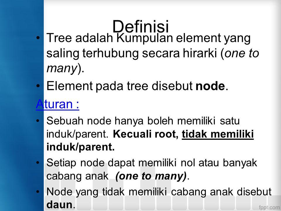 Definisi Tree adalah Kumpulan element yang saling terhubung secara hirarki (one to many). Element pada tree disebut node. Aturan : Sebuah node hanya b
