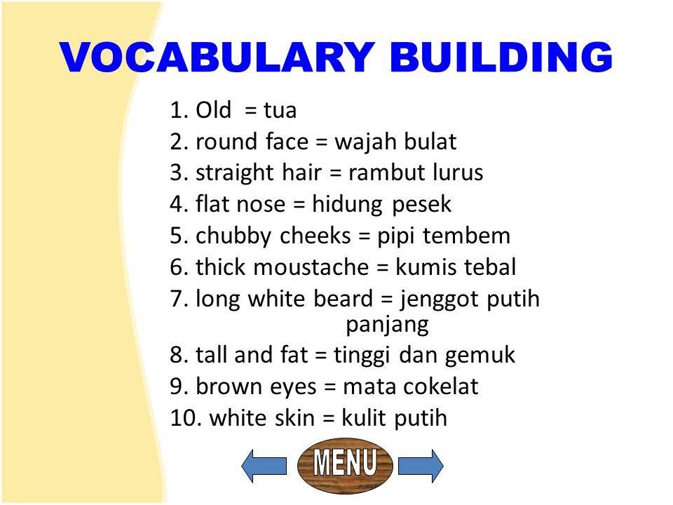 VOCABULARY BUILDING 1. Old = tua 2. round face = wajah bulat 3. straight hair = rambut lurus 4. flat nose = hidung pesek 5. chubby cheeks = pipi tembe