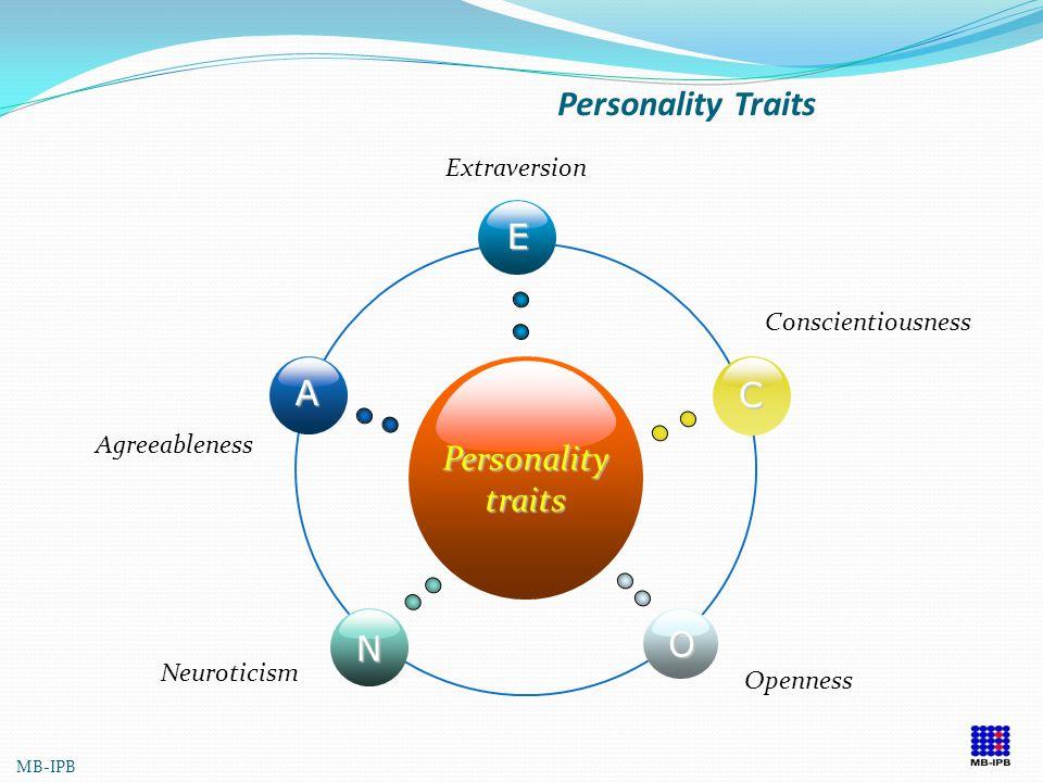 PERSONALITY TRAITS GOLBERG (1990) OPENNESS TO EXPERIENCE : kreatif, imajinatif, reflektif dan modern CONSCIENTIOUSNESS : disiplin, tanggung jawab EXTR