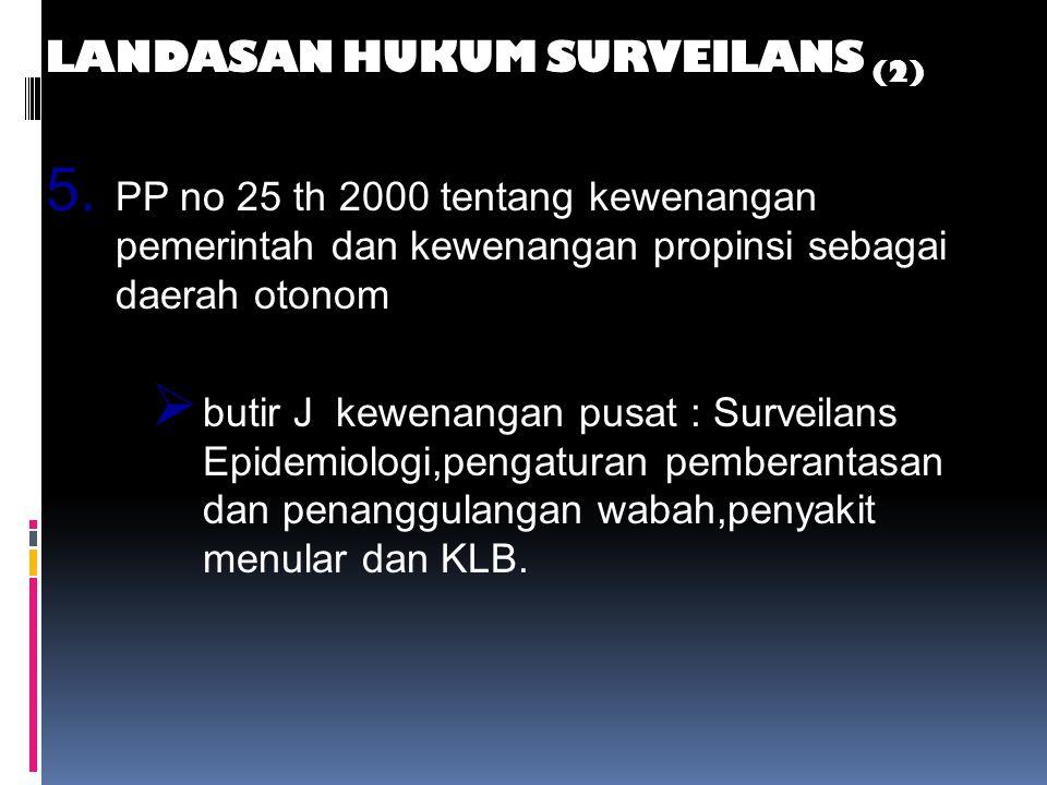 LANDASAN HUKUM SURVEILANS (1) 1. UU NO 4 tahun 1984 tentang WABAH PENYAKIT MENULAR 2. UU No. 22 Tahun 1999 tentang Pemerintah Daerah 3. UU No. 25 Tahu