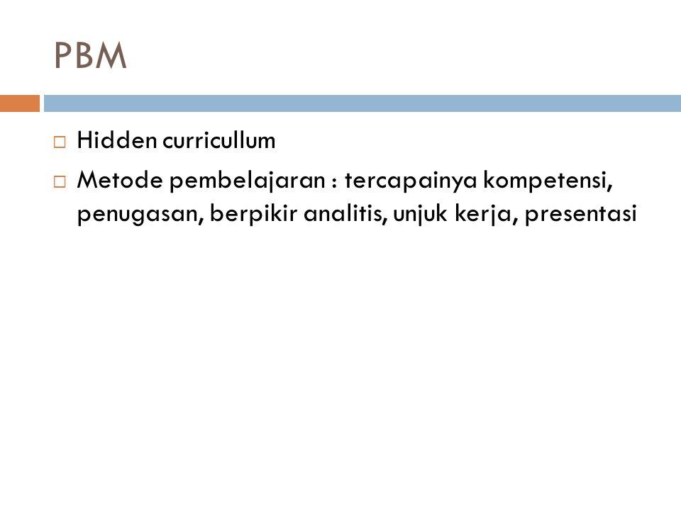 PBM  Hidden curricullum  Metode pembelajaran : tercapainya kompetensi, penugasan, berpikir analitis, unjuk kerja, presentasi