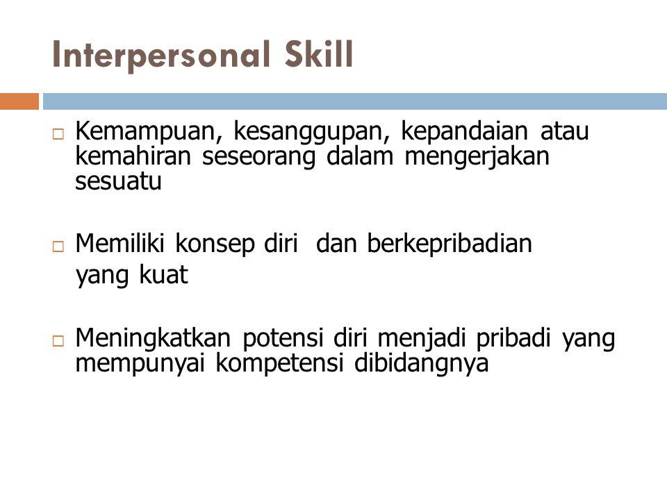 Interpersonal Skill  Kemampuan, kesanggupan, kepandaian atau kemahiran seseorang dalam mengerjakan sesuatu  Memiliki konsep diri dan berkepribadian
