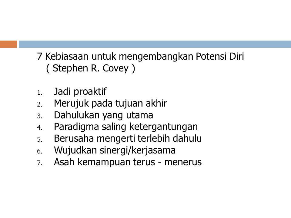7 Kebiasaan untuk mengembangkan Potensi Diri ( Stephen R. Covey ) 1. Jadi proaktif 2. Merujuk pada tujuan akhir 3. Dahulukan yang utama 4. Paradigma s