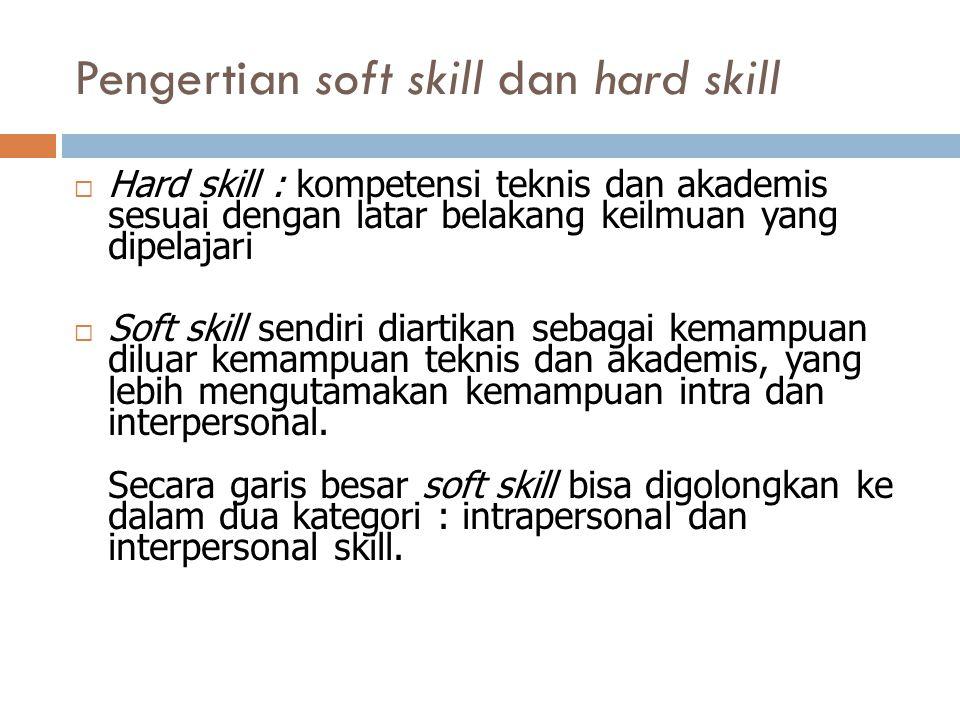 Pengertian soft skill dan hard skill  Hard skill : kompetensi teknis dan akademis sesuai dengan latar belakang keilmuan yang dipelajari  Soft skill