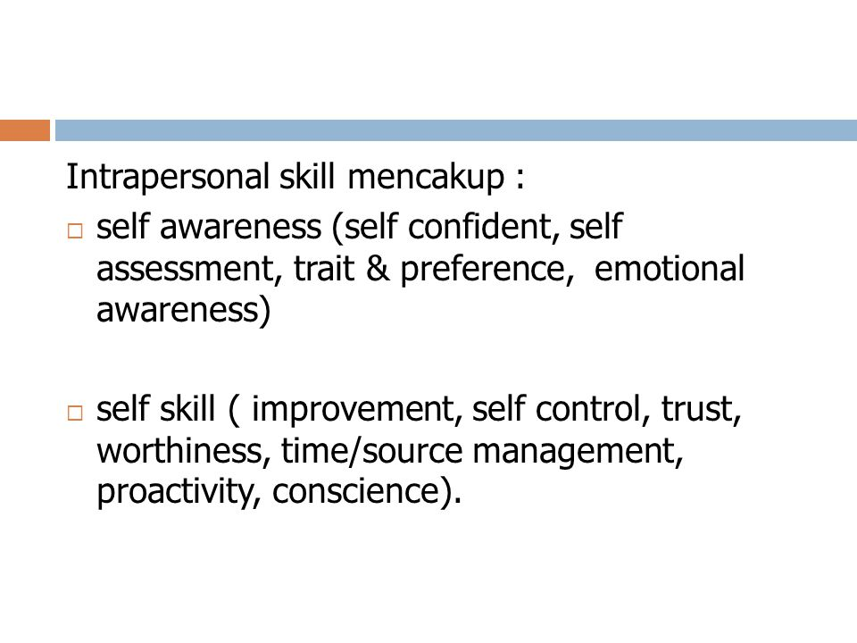 Intrapersonal skill mencakup :  self awareness (self confident, self assessment, trait & preference, emotional awareness)  self skill ( improvement,