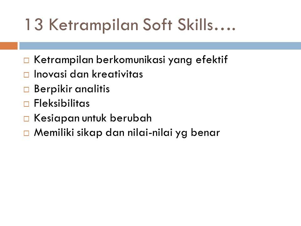 13 Ketrampilan Soft Skills….  Ketrampilan berkomunikasi yang efektif  Inovasi dan kreativitas  Berpikir analitis  Fleksibilitas  Kesiapan untuk b