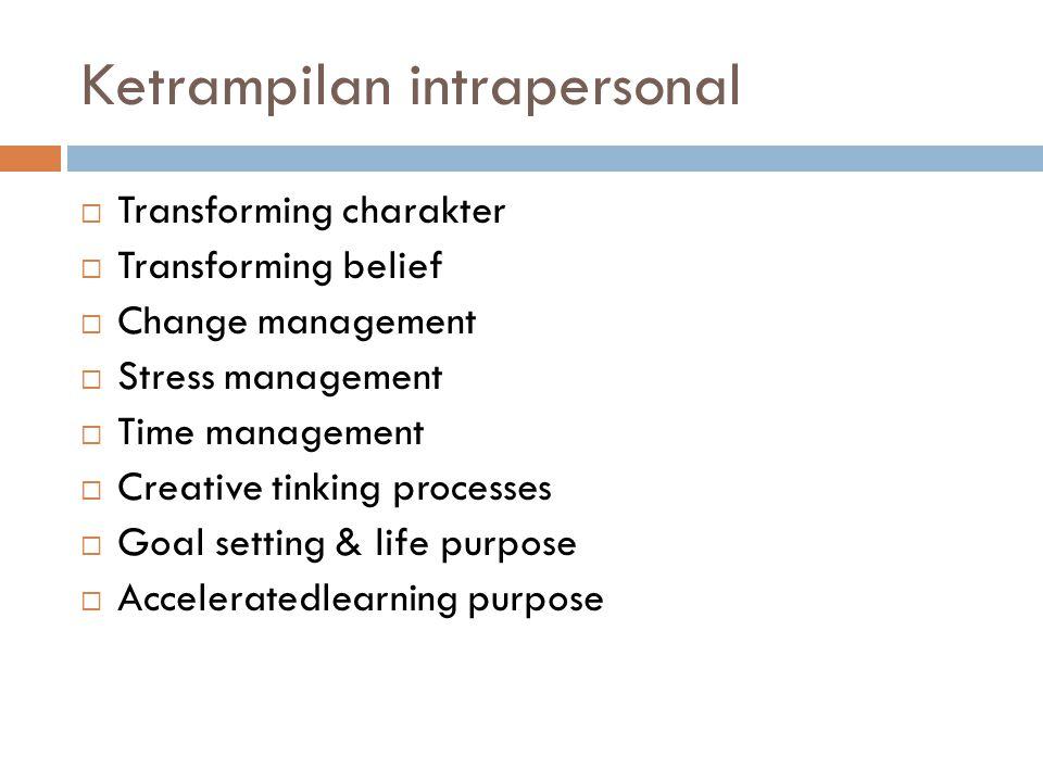 Ketrampilan intrapersonal  Transforming charakter  Transforming belief  Change management  Stress management  Time management  Creative tinking