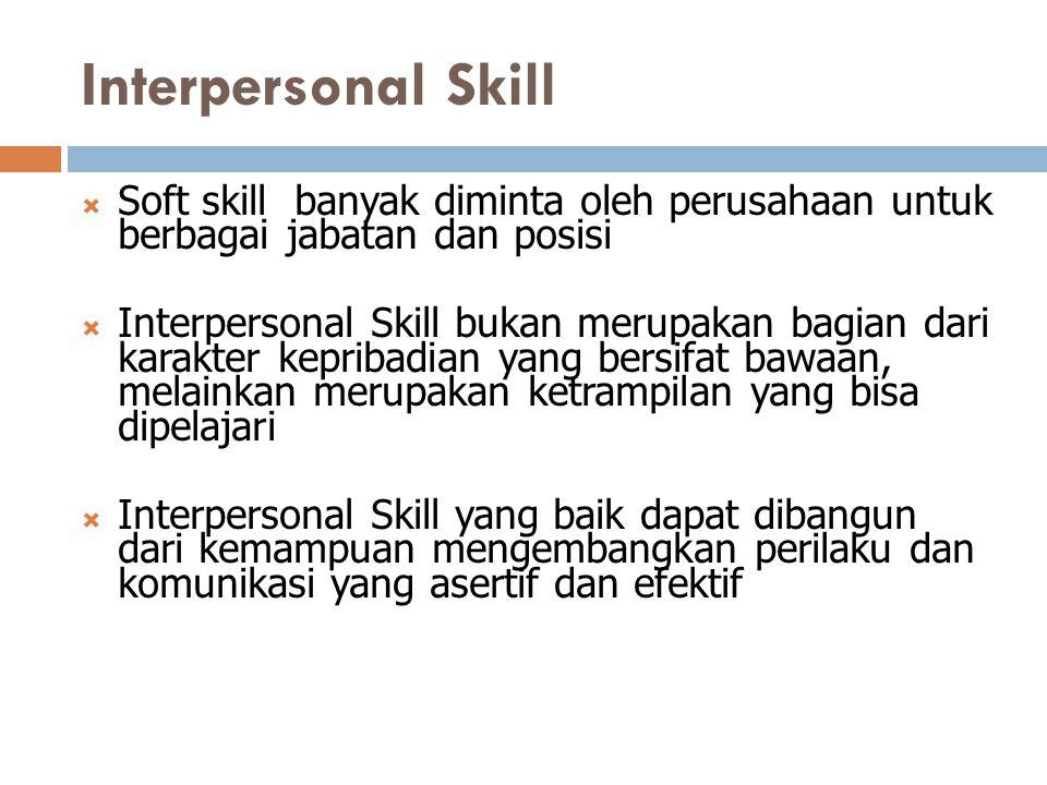 Interpersonal Skill  Soft skill banyak diminta oleh perusahaan untuk berbagai jabatan dan posisi  Interpersonal Skill bukan merupakan bagian dari ka
