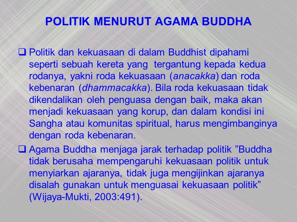 POLITIK MENURUT AGAMA BUDDHA  Politik dan kekuasaan di dalam Buddhist dipahami seperti sebuah kereta yang tergantung kepada kedua rodanya, yakni roda