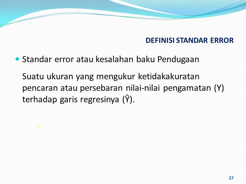 DEFINISI STANDAR ERROR Standar error atau kesalahan baku Pendugaan Suatu ukuran yang mengukur ketidakakuratan pencaran atau persebaran nilai-nilai pengamatan (Y) terhadap garis regresinya (Ŷ).