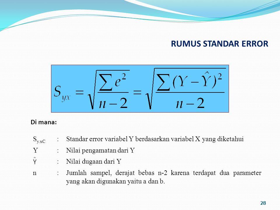 RUMUS STANDAR ERROR 28 Di mana: S y.xC :Standar error variabel Y berdasarkan variabel X yang diketahui Y:Nilai pengamatan dari Y :Nilai dugaan dari Y n:Jumlah sampel, derajat bebas n-2 karena terdapat dua parameter yang akan digunakan yaitu a dan b.