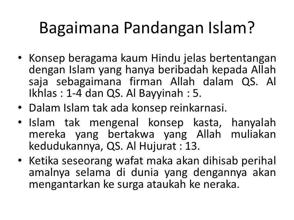 Bagaimana Pandangan Islam? Konsep beragama kaum Hindu jelas bertentangan dengan Islam yang hanya beribadah kepada Allah saja sebagaimana firman Allah