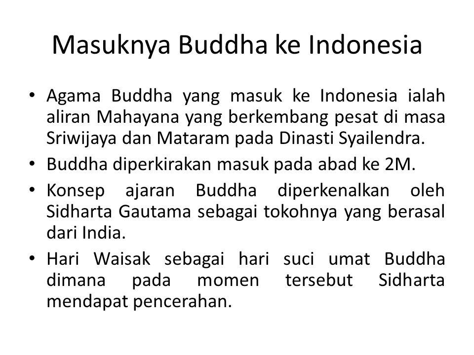 Masuknya Buddha ke Indonesia Agama Buddha yang masuk ke Indonesia ialah aliran Mahayana yang berkembang pesat di masa Sriwijaya dan Mataram pada Dinas