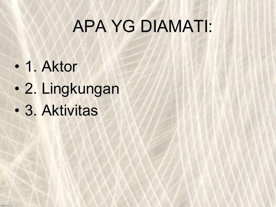 APA YG DIAMATI: 1. Aktor 2. Lingkungan 3. Aktivitas