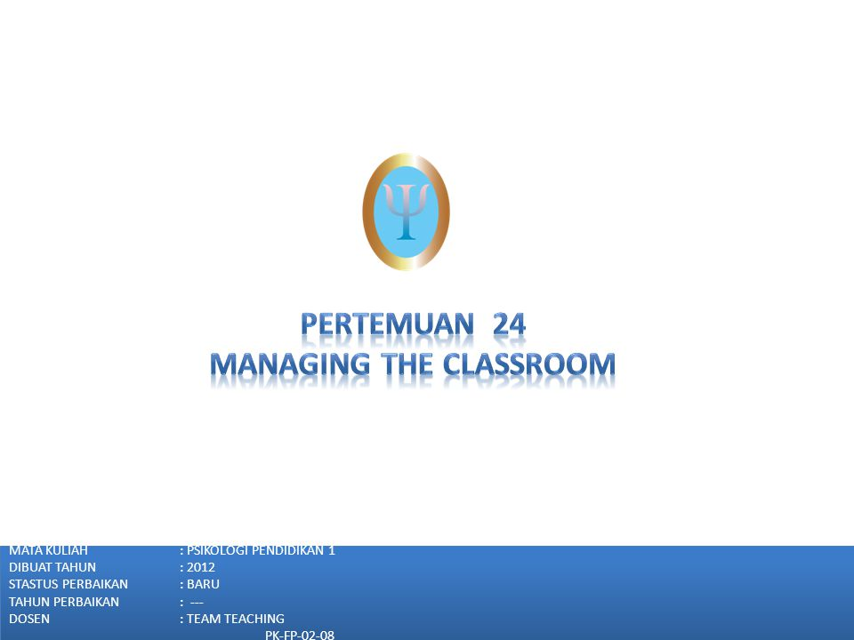 MANAGING THE CLASSROOM 1.Why Classroom Need to Be Managed Effectively 2.Designing the Physical Environment of the Classroom 3.