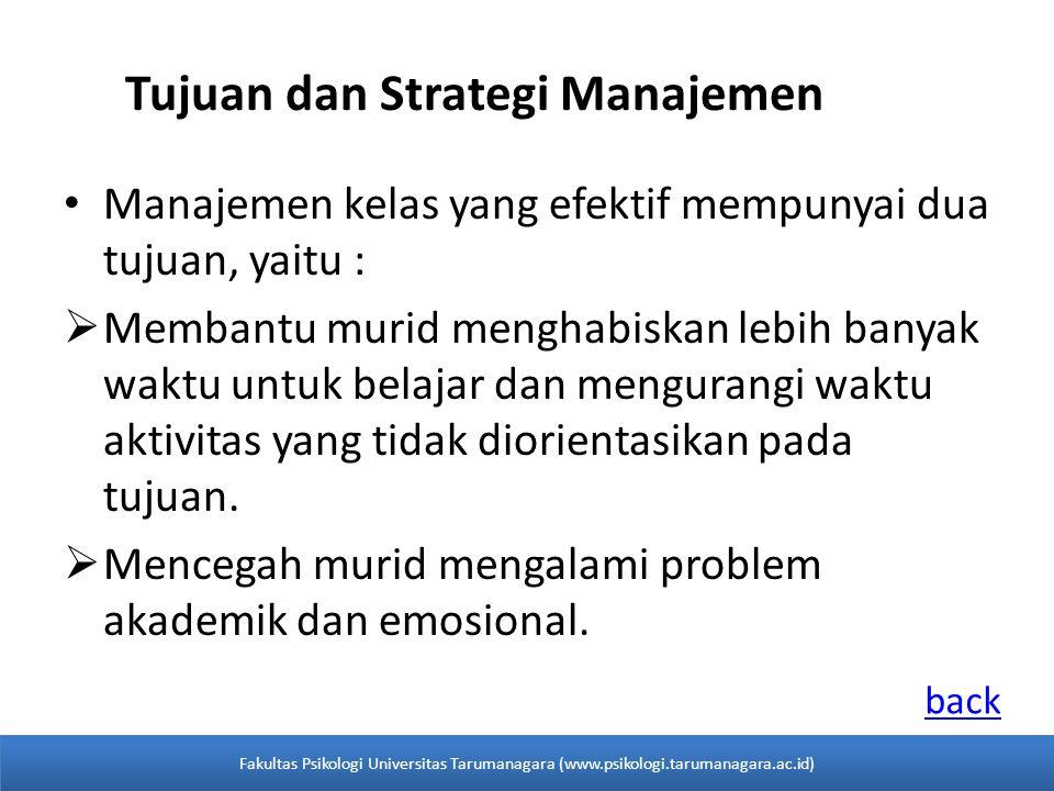 Tujuan dan Strategi Manajemen Manajemen kelas yang efektif mempunyai dua tujuan, yaitu :  Membantu murid menghabiskan lebih banyak waktu untuk belajar dan mengurangi waktu aktivitas yang tidak diorientasikan pada tujuan.