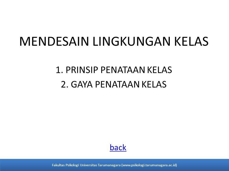MENDESAIN LINGKUNGAN KELAS 1. PRINSIP PENATAAN KELAS 2.