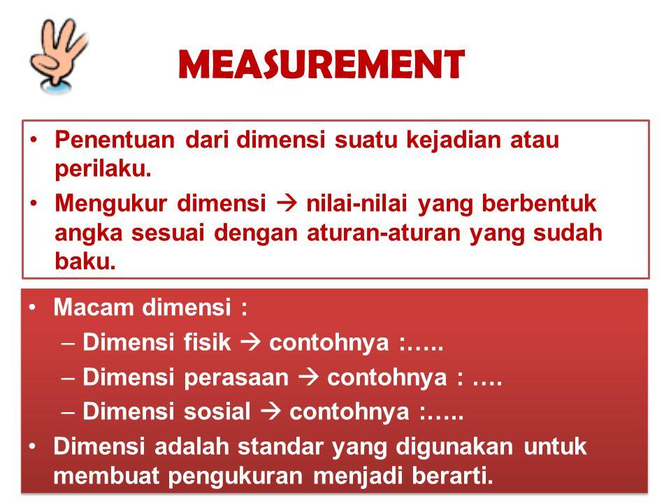 MEASUREMENT Penentuan dari dimensi suatu kejadian atau perilaku. Mengukur dimensi  nilai-nilai yang berbentuk angka sesuai dengan aturan-aturan yang