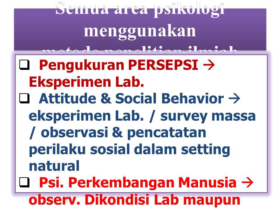 Semua area psikologi menggunakan metode penelitian ilmiah  Pengukuran PERSEPSI  Eksperimen Lab.  Attitude & Social Behavior  eksperimen Lab. / sur