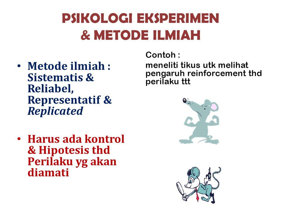 PSIKOLOGI EKSPERIMEN & METODE ILMIAH Metode ilmiah : Sistematis & Reliabel, Representatif & Replicated Harus ada kontrol & Hipotesis thd Perilaku yg a