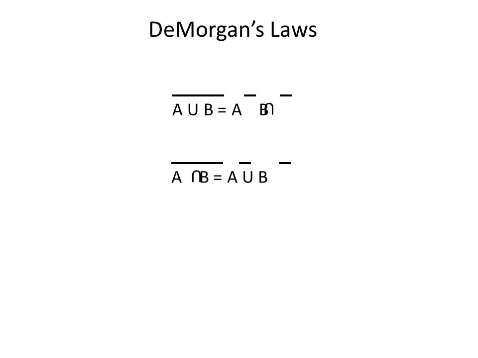 DeMorgan's Laws A U B = A B U A B = A U B U
